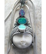 Hand Carved Moon Goddess + Blue Fire Opal Sterl... - $152.52