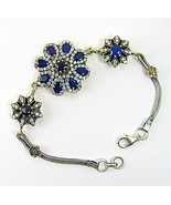 Encrusted Faceted Blue Sapphire + White Topaz S... - $152.52