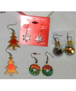4 Pair Colorful and Funky Holiday Earrings - $10.99