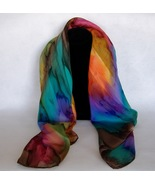 Hand Painted Silk Scarf Square Pink Blue Orange... - $72.00