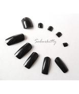 Black Fingernail plus Toenail Full Coverage Tips Set, Long Nails Halloween LARP - $5.00