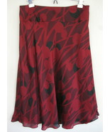 NWT Calvin Klein Silk Skirt 8 Red Black Scarlet... - $47.99