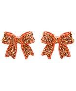 Fashion Crystal Pave Bow Ribbon Stud Earrings O... - $10.85