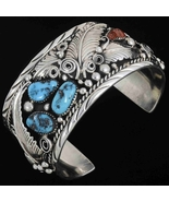 Large Sleeping Beauty Turquoise and Coral Sterl... - $894.47