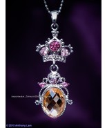 Crown Swarovski Crystal Necklace CHAMPAGNE PINK   - $13.99