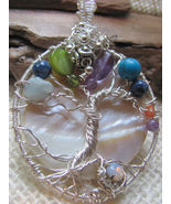 Handmade tree of life pendant mother of pearl p... - $69.00