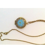 Blue Glow in the Dark Necklace Collectible Bron... - $26.00