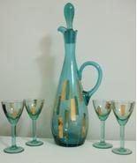 New Aqua Colored Glass Gold Accent Wine Decante... - $100.00