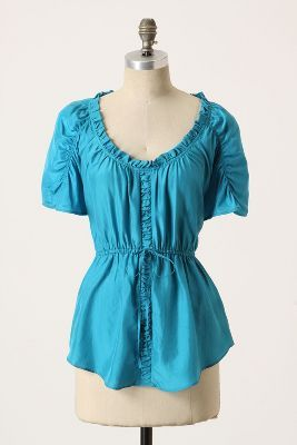 Now  54  Anthropologie Pleasant in Peasant silk top turquoise blue sz 14