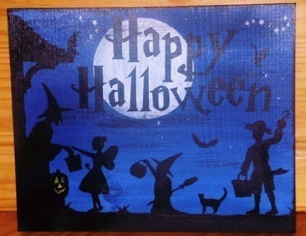 Happy Halloween Sign Decorations Primitive Folk Art Witches Trick  Treat