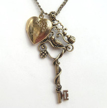 Antiqued Brass Key Heart Locket Necklace - $11.99