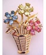 1954 Crown Trifari Fragonard Flower Basket Pin ... - $24.95