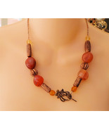 Handcrafted Brown Semiprecious Stone Necklace a... - $14.24