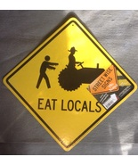 Halloween Orange Yellow Zombies Eat Locals Grav... - $3.99