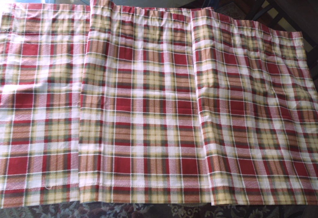 rustic plaid tailored cotton valance rust green yellow off white