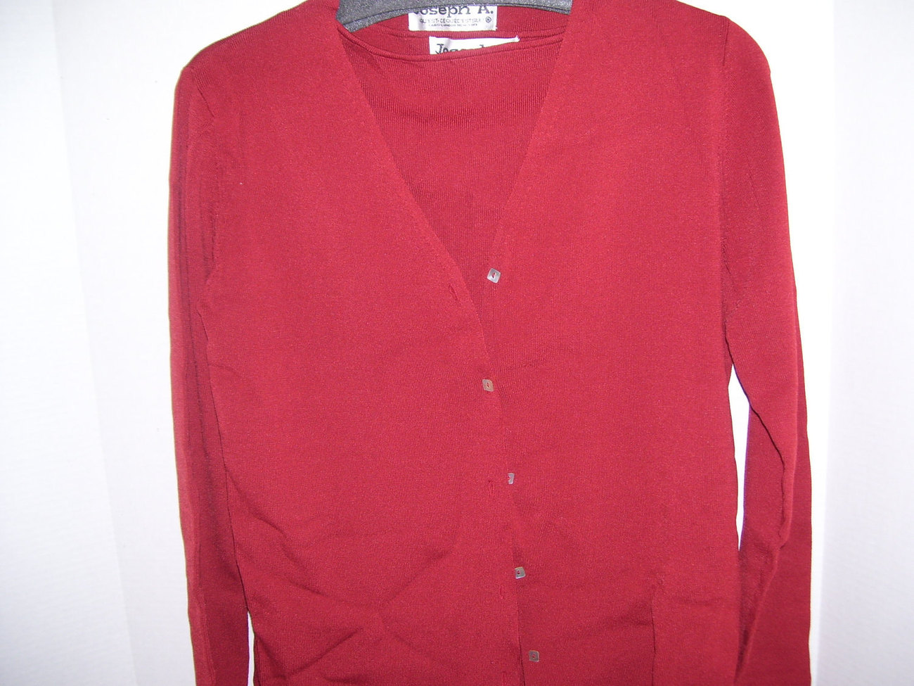 Sweater Set Size L Joseph A  Cardigan and Shell Dressy to Denim Soft Rust Red