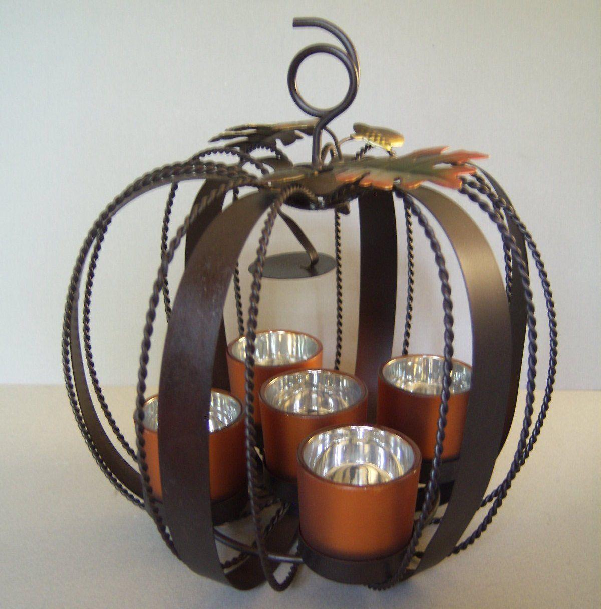 Metal Fall Autumn Halloween Pumpkin 5 Orange Mercury Glass ...