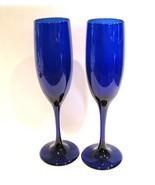 Libbey Champagne Flutes Cobalt Blue Glass - $28.00