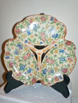 VINTAGE HANDPAINTED POTTERY 3 SECTIONED CANDY D... - $7.15