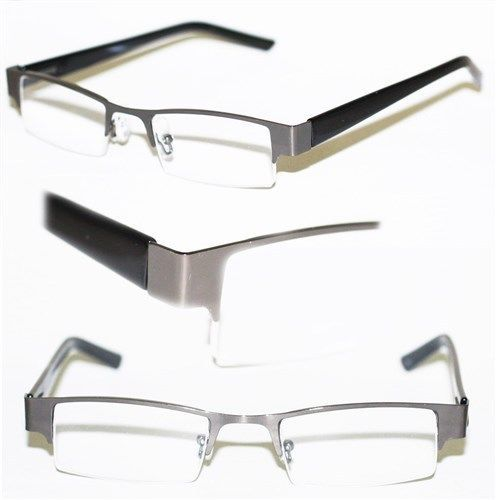 Gray Frame Reading Glasses : Reading Glasses BRUSHED METAL Top Only HEMATITE GRAY Frame ...