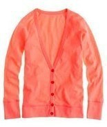 NWT J. Crew Painter V neck Cardigan Neon Persim... - $33.00