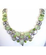 Prehnite with Amethyst and Peridot Sterling Sil... - $307.36