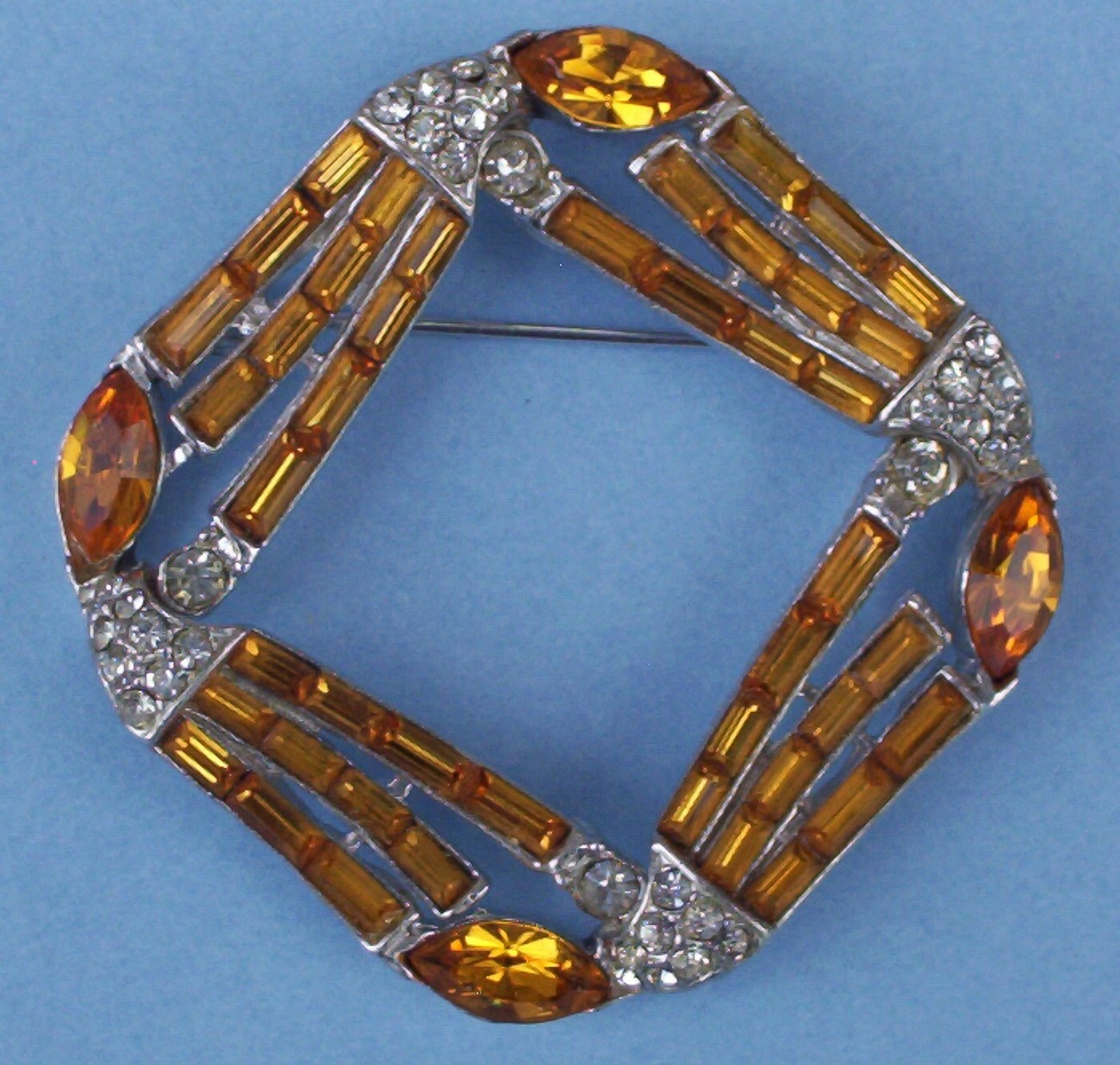 pin brooch vintage amber   clear rhinestones CC ACCEPTED