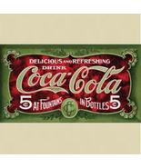 COCA COLA Coke Green 5 Cents Coke Tin Metal Sign - $12.59