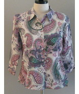 JM Collection Longsleeve Paisley Print Blouse S... - $18.00