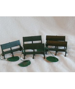 Lot of 5 Dept 56 Green Metal Park Benches for H... - $24.99