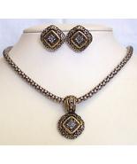 Gold-Silvertone Rhinestone Pendant Necklace Ear... - $8.00