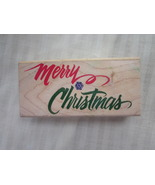 Large Merry Christmas Rubber Stamp Rubber Stamp... - $2.99