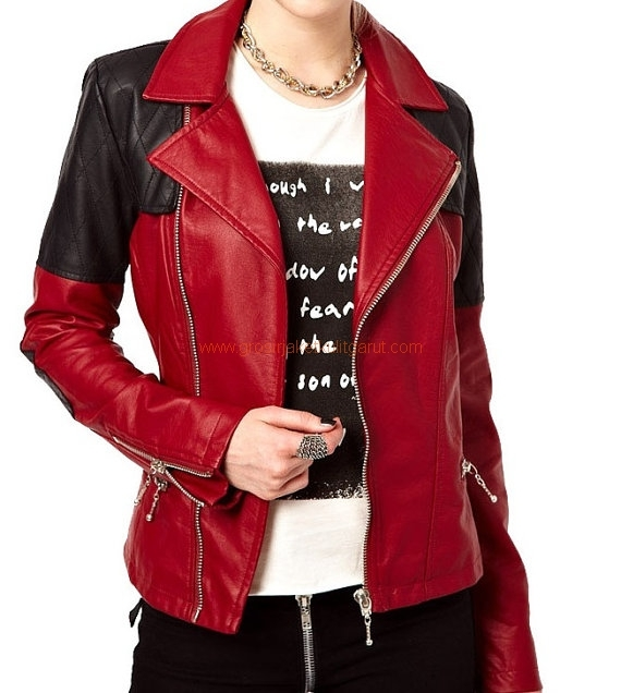 HANDMADE WOMEN FASHION LEATHER JACKET, WOMENS RED AND ...