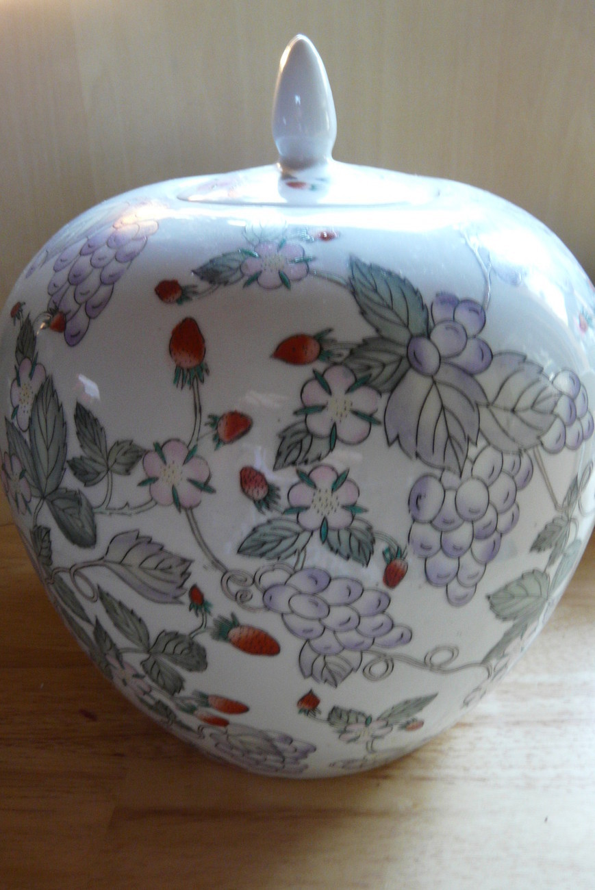 Ginger Jar Hand Painted  Flowers, Grapes, Strawberries, Made in China