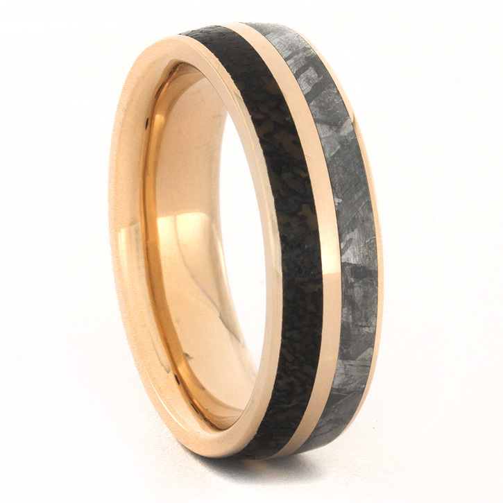 rose gold wedding ring dinosaur bone and gibeon meteorite