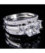 Ladies 14K White Gold Fn Lab Diamond Princess C... - $59.39