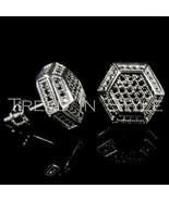 Mens 14K Black Gold Fn Lab Diamond 3D Double He... - $34.64