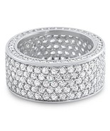 Mens 14K White Gold Fin Iced Lab Diamond Infini... - $44.54