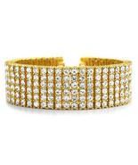 Mens 6 Row Yellow Gold Fin Iced Out Hip Hop Lab... - $44.54