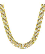 Mens 4 Row Gold Finish Iced Out Hip Hop 30