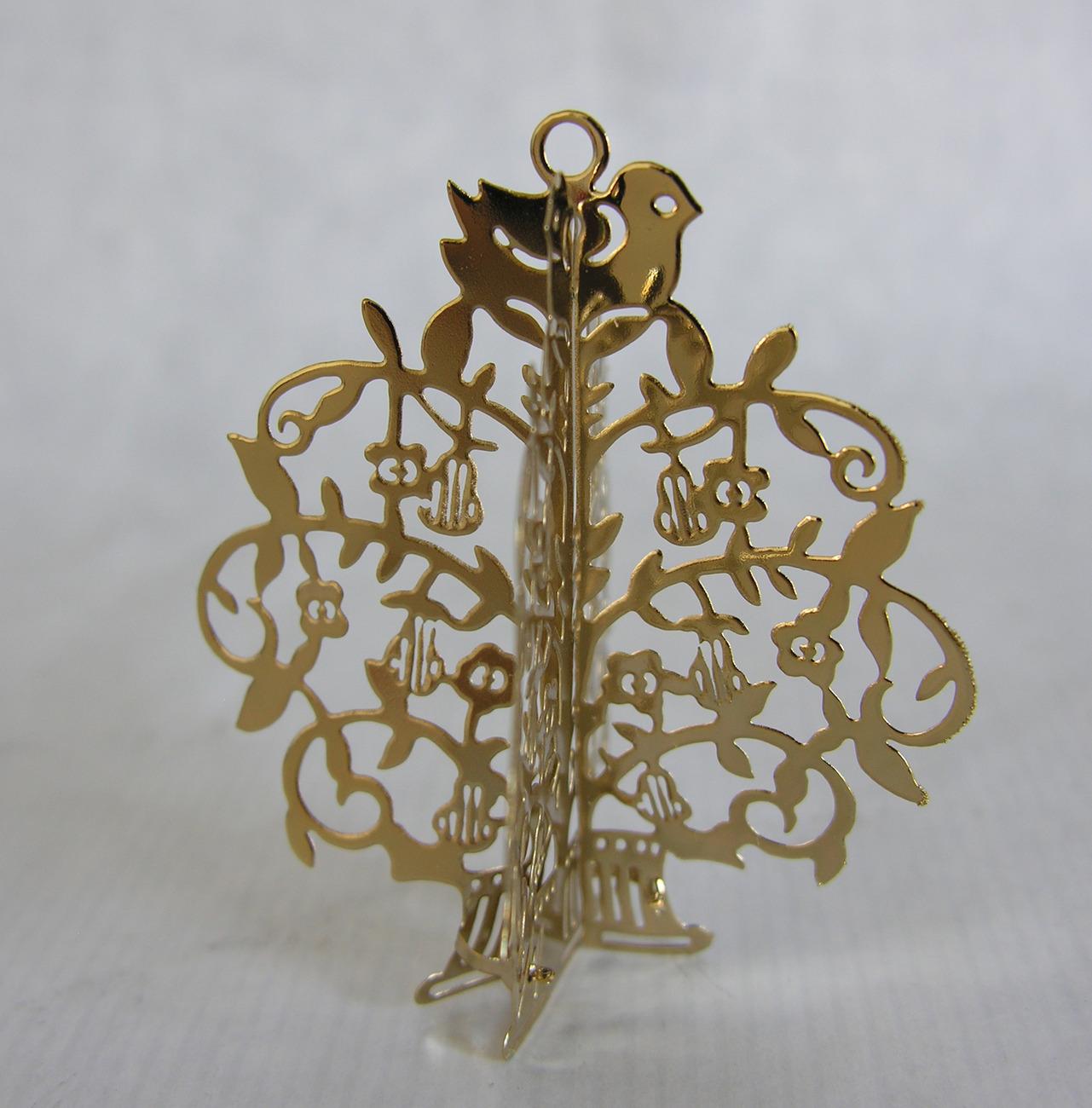 Golden Christmas Tree Metal Tree Ornament Vintage Metal