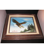 W. Amadio Eagle Oil On Canvas Painting Framed - $45.00