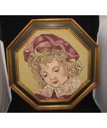 Vintage Framed Needlepoint Young Girl - $49.00