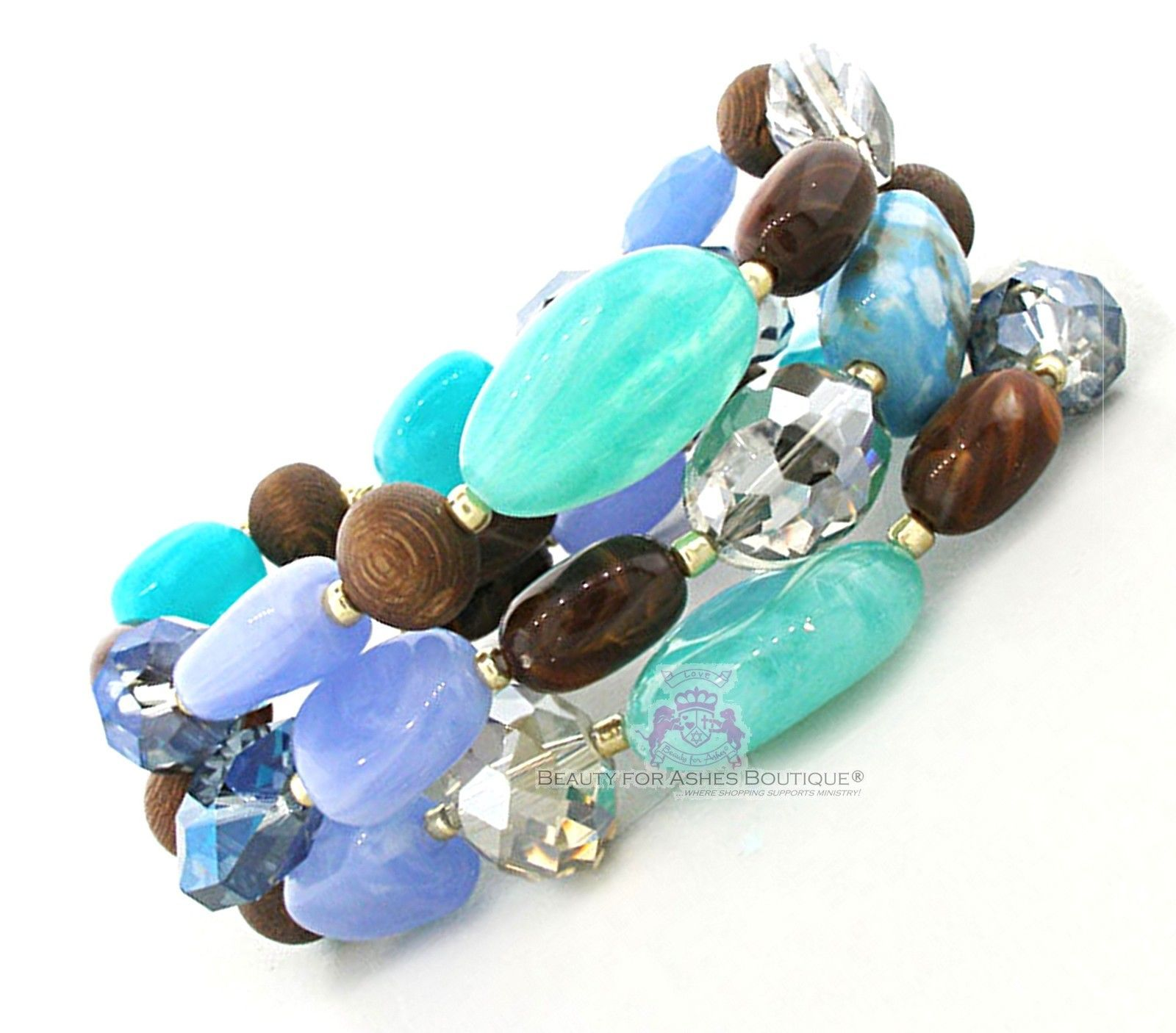 Beauty for Ashes Chunky Aqua Blue Bead Stone Wood Layered Strands