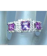 Three Stone Princess Cut Pink Sapphire Diamond ... - $1,399.41