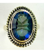 Faceted Blue Azotic Rainbow Topaz Oval Sterling... - $102.97