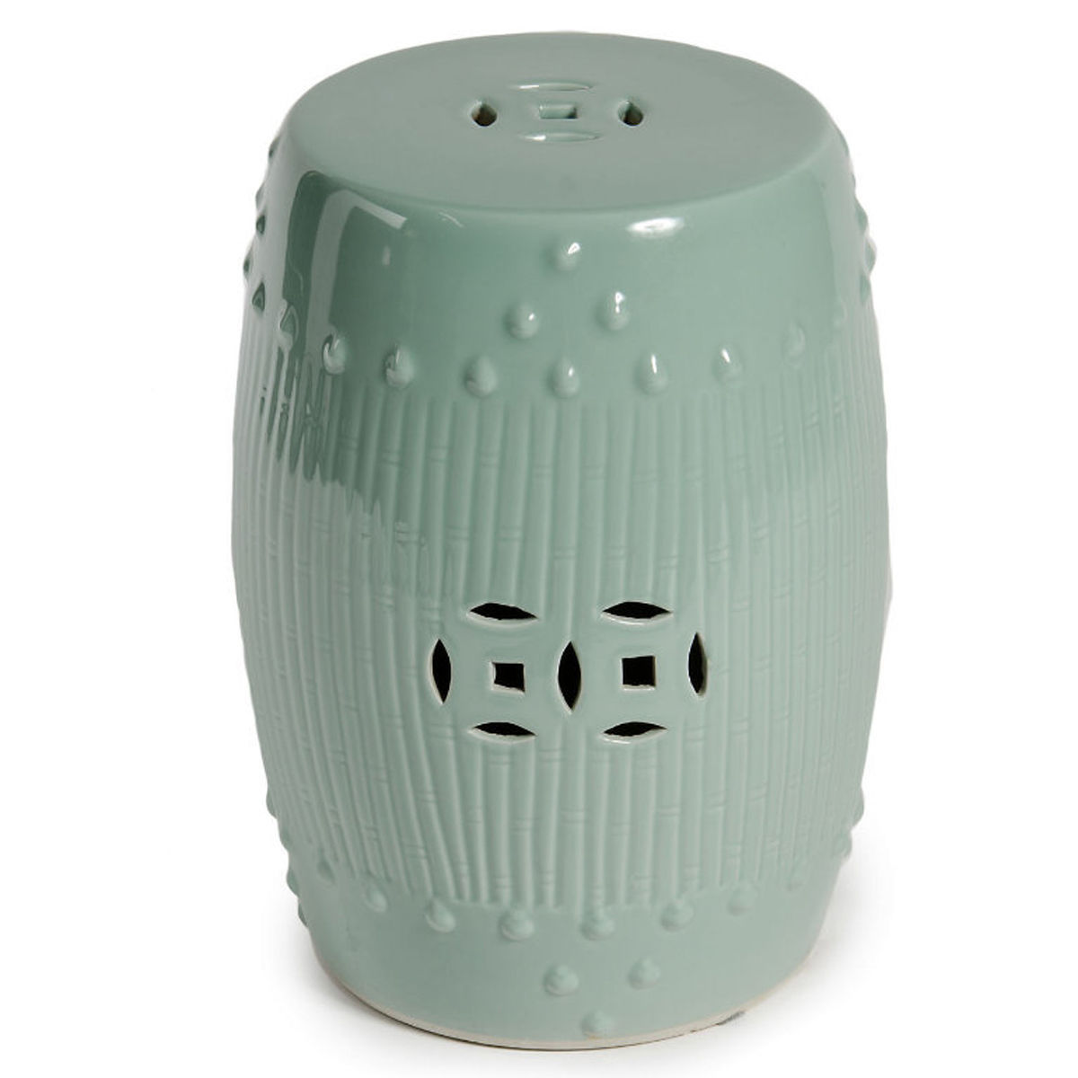 Celadon Green Bamboo Chinese Garden Stool Indoor