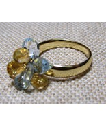 14k Dangle Ring Solid Gold Blue Topaz Citrine B... - $295.00