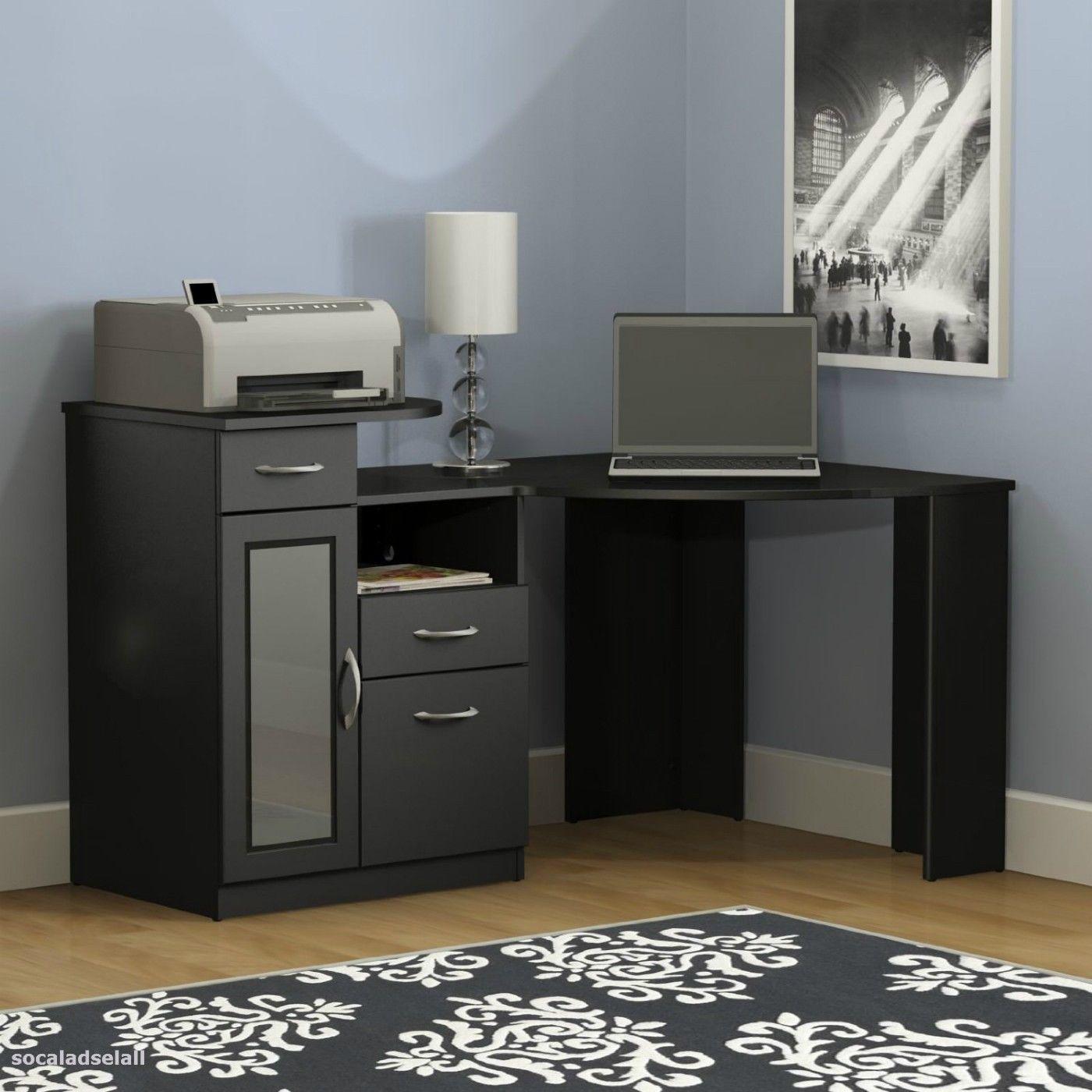 Black Corner Computer Desk With Hutch Office Storage Drawer File