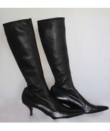 $1200 AUTH Prada black stretch leather knee-hig... - $244.95